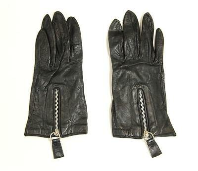 Barney's New York Black Leather & Silk Lined Zip Front Gloves