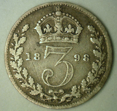 1898 Silver 3 Pence Great Britain UK English Coin YG-2