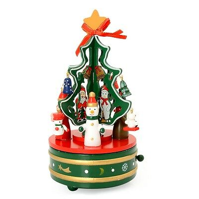 TJC Red, Yellow and Green Moving Miniature Christmas Tree Music Box with Resin