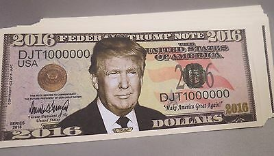 WHOLESALE LOT of 100 DONALD TRUMP FOR PRESIDENT MONEY 2016 USA DOLLAR BILLS US
