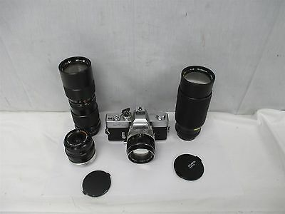 Vintage Minolta SR T 102 SRT102 35mm Film SLR Camera W/ 4 Lenses