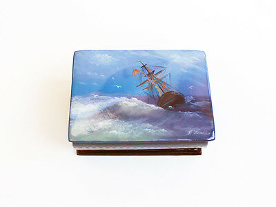 Vintage Russian Hand Painted Lacquer Maritime Box SHIP In Ocean Storm Folk Sea