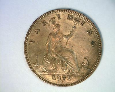 GREAT BRITAIN 1875-H FARTHING KM753 cleaned  EXTREMELY FINE  ~ 4019