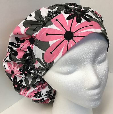 Gray & Pink Floral Large Medical Bouffant OR Scrub Cap Surgery Hat
