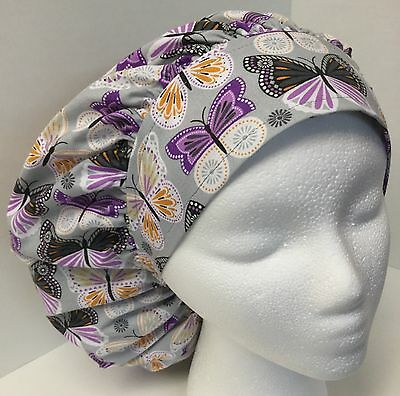Purple & Gray Butterfly Large Medical Bouffant OR Scrub Cap Surgery Hat