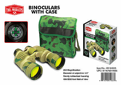 NEW Fine Life Tool Products Camo 20x Binoculars built in Compass with Case