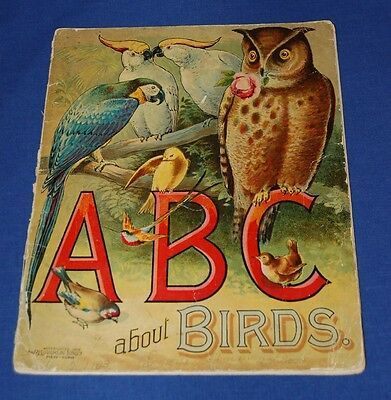 ABC ABOUT BIRDS 1892 McLoughlin Brothers Illustrated Softcover Children's Book