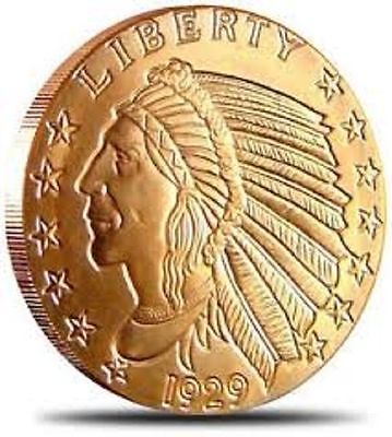 1 AVDP oz Incuse Indian copper round. Uncirculated coin .999
