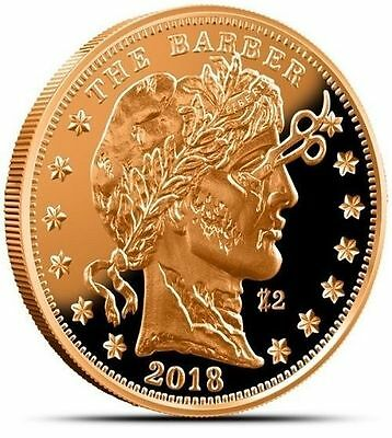 1 Avdp oz Zombucks™ The Barber copper round. Uncirculated coin .999