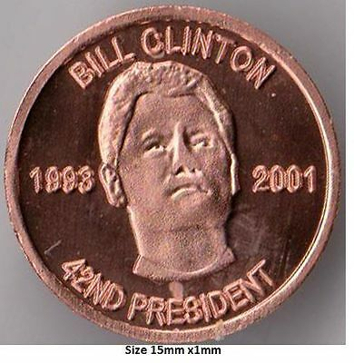 1 Gram 42nd President Bill Clinton Fine copper round .999 Uncirculated coin.
