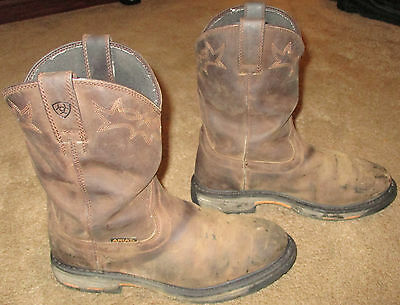 Mens ARIAT Workhog Pull On H2O Brown Leather Work Boots sz 11.5 EE