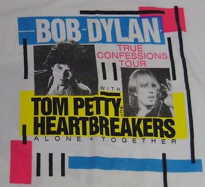 OLD Vintage 1986 BOB DYLAN TOM PETTY AND THE HEARTBREAKERS MUSIC CONCERT T-SHIRT