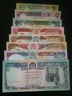 Afghanistan Set Of 8 Different Notes 10 - 10000 Afghanis Unc L@@k!!!