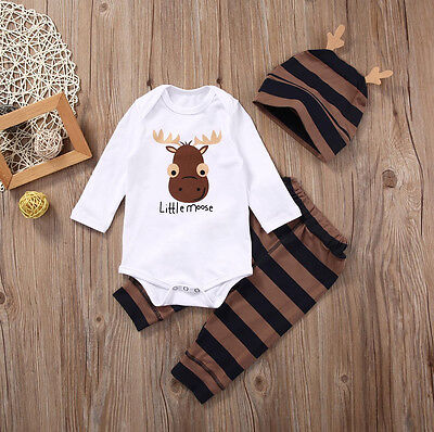 Newborn Infant Baby Boy Girl Little Moose Romper Top Long Pants Outfits Set Clot