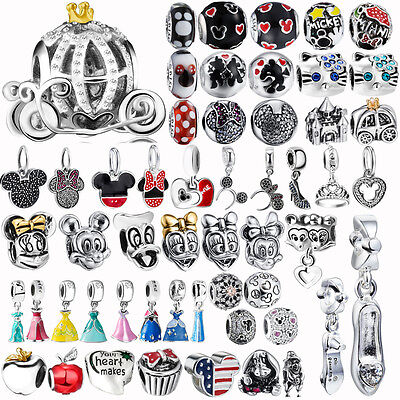 Sterling Silver Mickey&Minnie Charm Bead for 925 Fairy Subject Bracelet Necklace