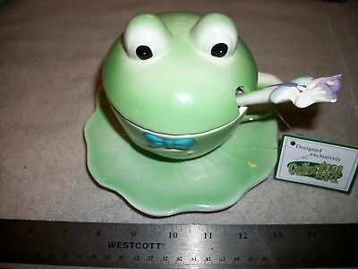 Frog Cup With Ceramic Lid Saucer And Spoon-Designed For Collection Etc!