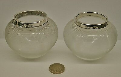 A Pair of Antique Hallmarked Silver & Glass Match Strikers/Holders