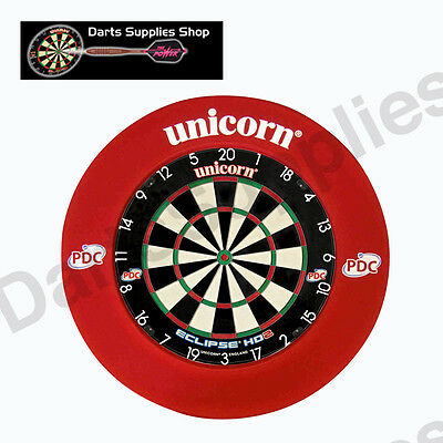 Unicorn Eclipse HD2 Dartboard & Unicorn Striker Surround in Red