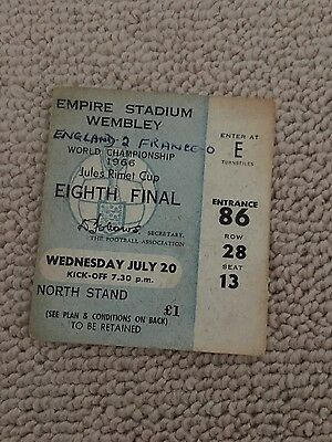 England v France vintage football match ticket!! World Cup match 1966!!