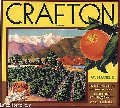 Orange Crate Label Valley Rare Crafton Mentone San Bernardino California Scene