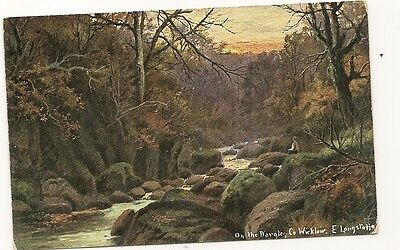 Old Postcard-ON THE DARGLE-CO WICKLOW-Ireland-signed E Longstaffe-by Hildesheime