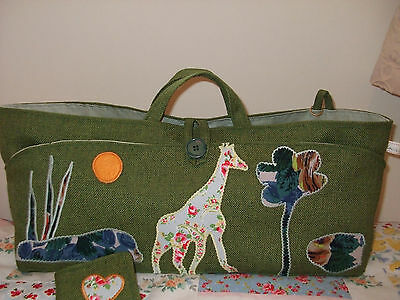 Knitting Bag Hand Made Applique Giraffe In Cath Kidston Fabric