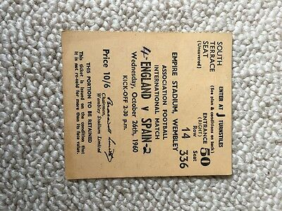 England v Spain used football ticket!! International friendly Oct 26th 1960!!