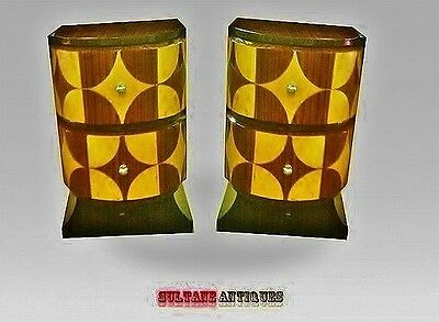 Gorgeously inlaid Pair of Art Deco style side tables commodes