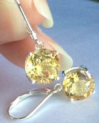 Citrine Lever-Back Earrings in Platinum on 925 Silver ( 5.000cts