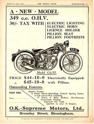 The  O.K.- SUPREME  Model GS/31  MOTORCYCLE   (1931 Advertisement)