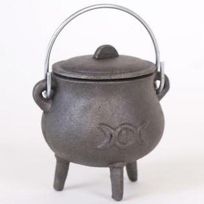 New Cast Iron Cauldron With Triple Moon Design Lid And Handle Pagan Wiccan 29102