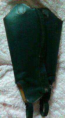 Horse Riding Adult  ** leather ** half chaps - LARGE  black