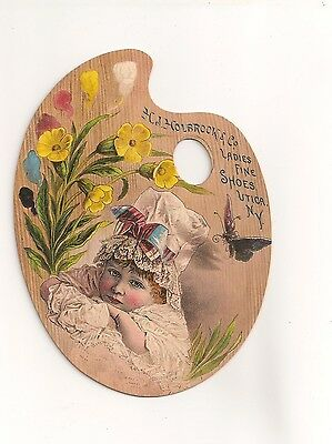 Pretty Trade Card -  Artist's Palette , Ladies Shoes , Utica , Ny Holbrook Co.