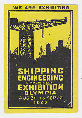 Gb 1923 Shipping Engineering Exhibition London Olympia Label Mm