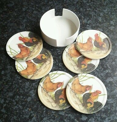 A Set of 6 Hen/Rooster Design Coasters in Holder, Beautiful Vintage 1980s Set