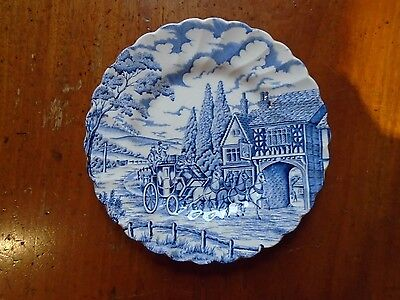 "Vintage Myott ""Royal Mail"" side plate in blue and white."
