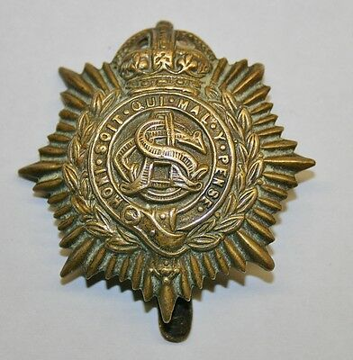 Vintage WWI British Army ASC ARMY SERVICE CORPS CAP BADGE (Kings Crown)
