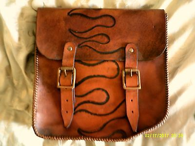 Motorcycle brown saddlebag with embossed flames