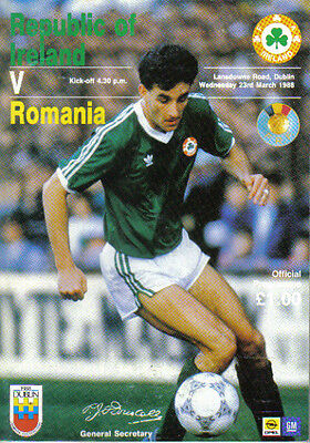 1988  REPUBLIC  OF  IRELAND  v  RUMANIA.. (FRIENDLY MATCH)