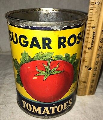 Antique Sugar Rose Tomatoes Vintage Country Grocery Store Tin Tampa Fl Food Can