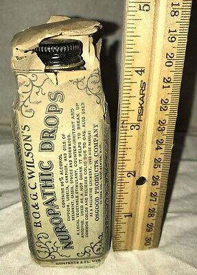 Antique Unopened Wilsons Nuropathic Drops Glass Bottle Tin Lid Medicine Druggist