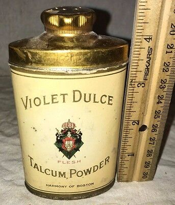 Antique Violet Dulce Talcum Powder Tin Vintage Talc Can Harmony Of Boston Ma Old