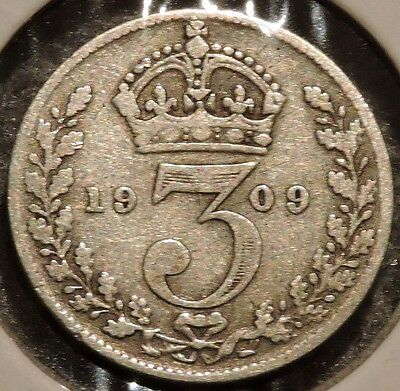 British Silver Threepence - 1909 - King Edward VII - $1 Unlimited Ship