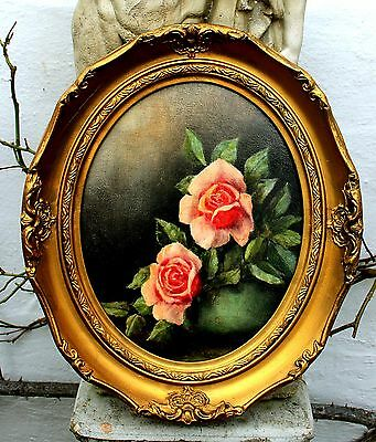Delightful Early C20th English School Still Life Oil on Panel - Roses in a Vase