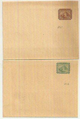 1889 Egypt 2x Postal Stationery Wrappers Sphinx/Pyramids H&G 1-2 mint unused