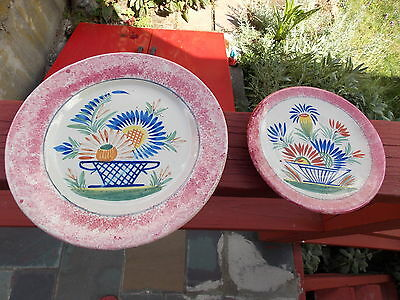 2 Red  /  Pink Quimper Plates
