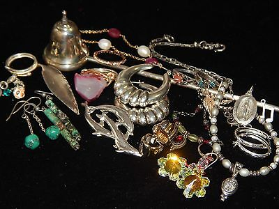 Vintage 2Mod STERLING Silver Pearl Jewelry Earrings Necklace Ring Turquoise Lot