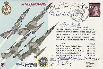 AD38a  The Red Indians. Flown Red Indians Signed 5 Battle of Britain Pilots,Crew