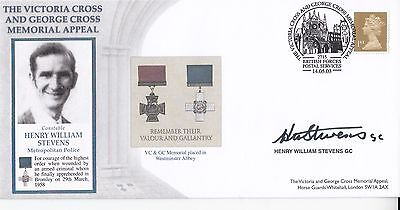 Victoria Cross and George Cross Memorial Appeal Signed H W Stevens GC Holder