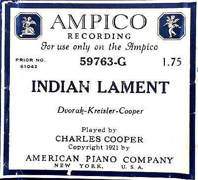 Ampico INDIAN LAMENT 59763-G Charles Cooper Reproducing Player Piano Roll
